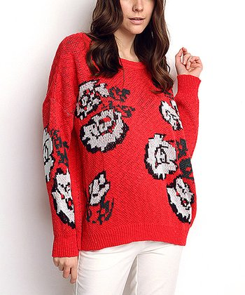 Coral & White Flower Wool-Blend Sweater