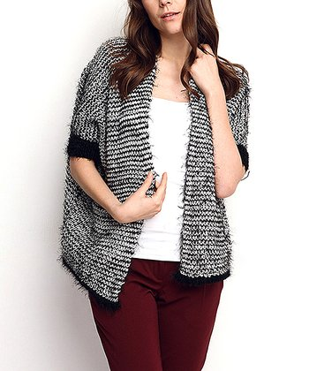 Black & Gray Angled-Hem Wool-Blend Open Cardigan