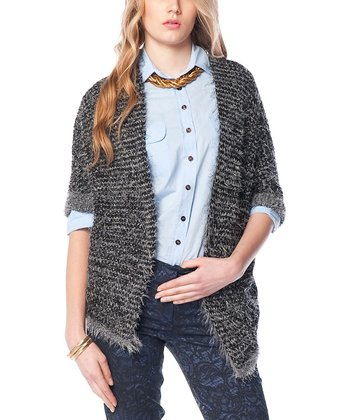 Smoked Charcoal Angled-Hem Wool-Blend Open Cardigan
