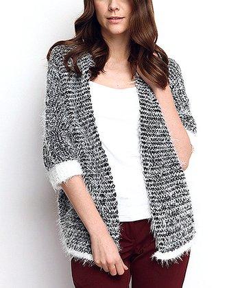 Stone Angled-Hem Wool-Blend Open Cardigan