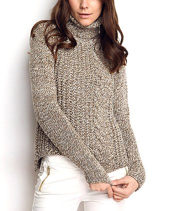 Khaki Cable-Knit Wool-Blend Turtleneck Sweater