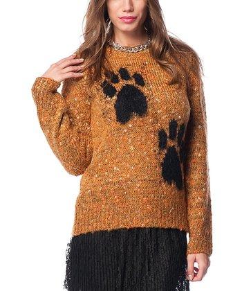 Mustard Paw Print Wool-Blend Sweater