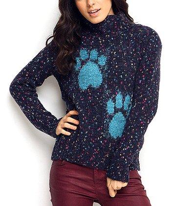 Navy Paw Print Wool-Blend Sweater