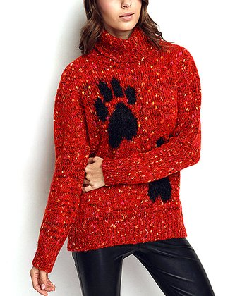Red Paw Print Wool-Blend Sweater