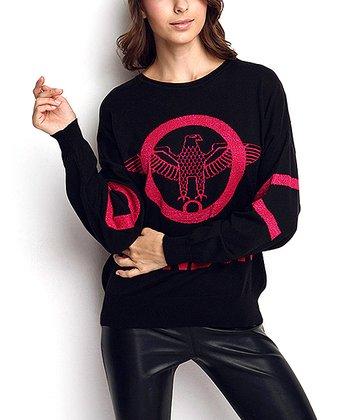 Black & Hot Pink Eagle Wool-Blend Sweater