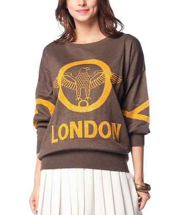 Brown & Mustard Eagle Wool-Blend Sweater