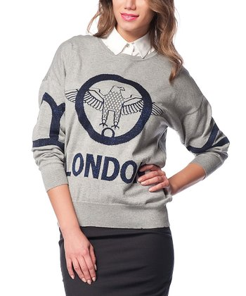 Gray & Navy Eagle Wool-Blend Sweater