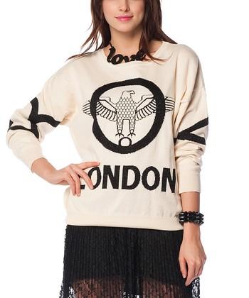 Cream & Black Eagle Wool-Blend Sweater