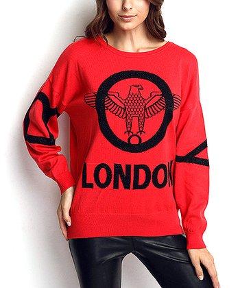 Coral & Black Eagle Wool-Blend Sweater
