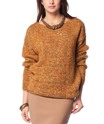 Mustard Speckle Wool-Blend Crewneck Sweater