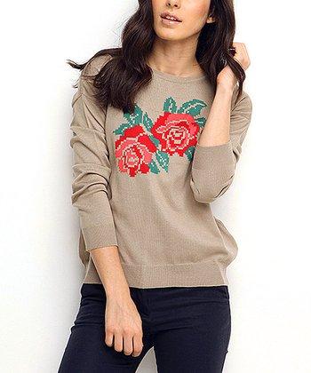 Vizon & Red Rose Wool-Blend Crewneck Sweater
