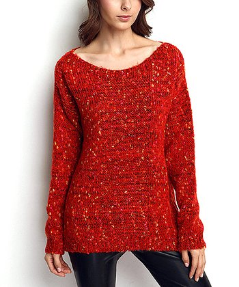 Red Speckle Wool-Blend Crewneck Sweater