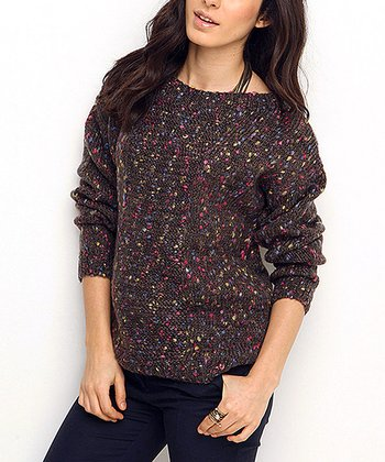Smoked Speckle Wool-Blend Crewneck Sweater