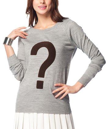 Gray Question Mark Keyhole Wool-Blend Sweater