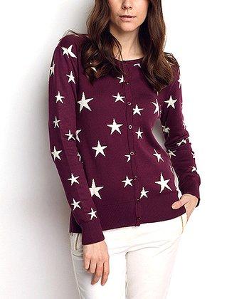 Purple Star Wool-Blend Cardigan