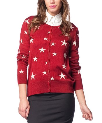 Red Star Wool-Blend Cardigan
