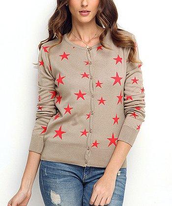 Vizon & Coral Star Wool-Blend Cardigan