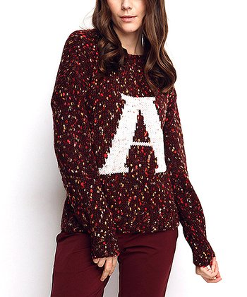 Claret Red 'A' Wool-Blend Sweater