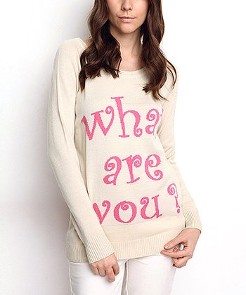 Cream 'What Are You?' Wool-Blend Sweater