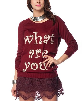 Claret Red 'What Are You?' Wool-Blend Sweater