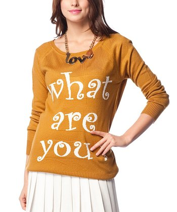 Mustard 'What Are You?' Wool-Blend Sweater