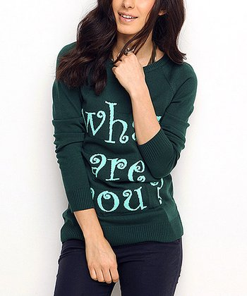 Green 'What Are You?' Wool-Blend Sweater