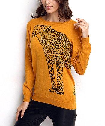 Mustard Leopard Wool-Blend Sweater