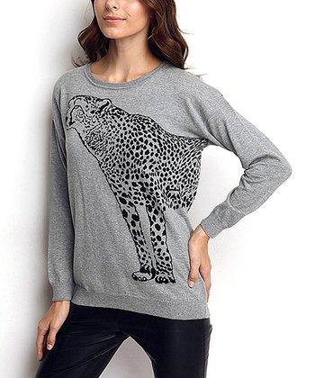 Gray Leopard Wool-Blend Sweater
