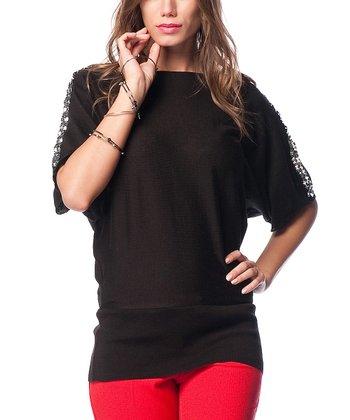 Black Wool-Blend Boatneck Sweater