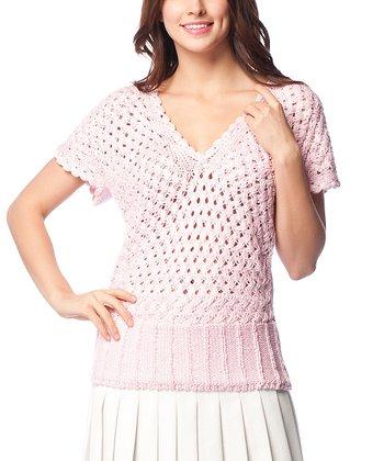 Pink Crochet Wool-Blend V-Neck Sweater