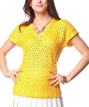 Yellow Crochet Wool-Blend V-Neck Sweater