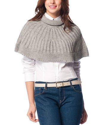 Gray Wool-Blend Capelet