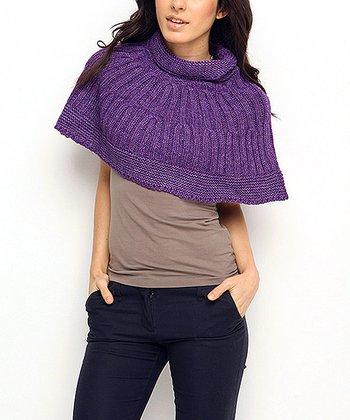 Purple Wool-Blend Capelet