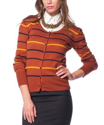 Terra-Cotta Stripe Wool-Blend Scoop Neck Cardigan