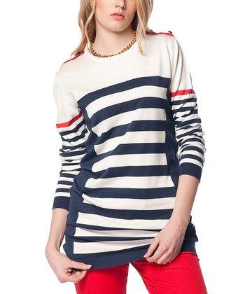 White & Navy Stripe Wool-Blend Sweater Tunic