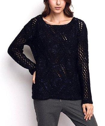 Navy Knit Wool-Blend Sweater