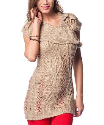 Beige Fold-Over Collar Mesh Wool-Blend Sweater
