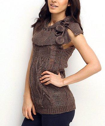 Brown Fold-Over Collar Mesh Wool-Blend Sweater