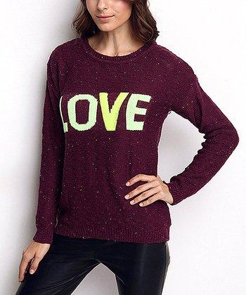 Purple 'Love' Wool-Blend Sweater