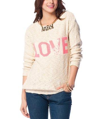 Cream 'Love' Wool-Blend Sweater