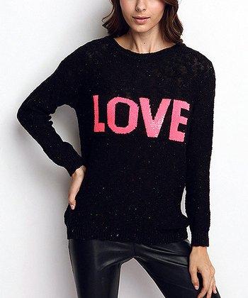Black 'Love' Wool-Blend Sweater