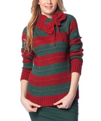 Green & Scarlet Red Stripe Bow Wool-Blend Sweater