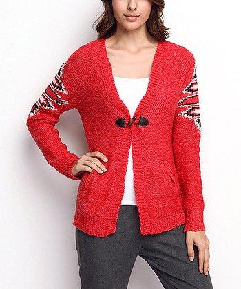 Red Tribal Wool-Blend Cardigan