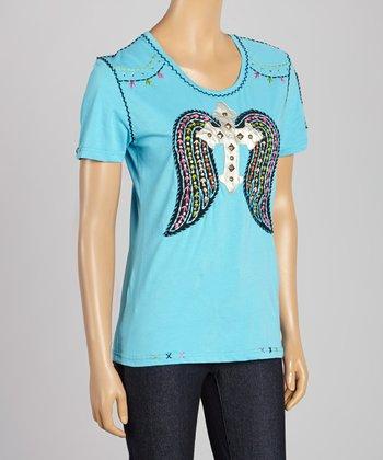 Blue Winged Cross Tee - Women