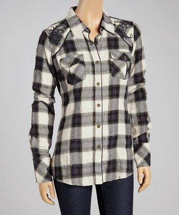 Black Plaid Composure Button-Up - Women