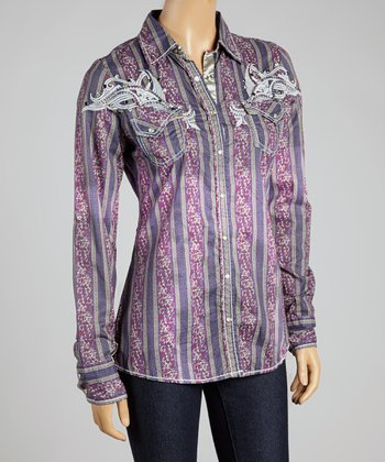 Purple Stripe Redeem Button-Up - Women