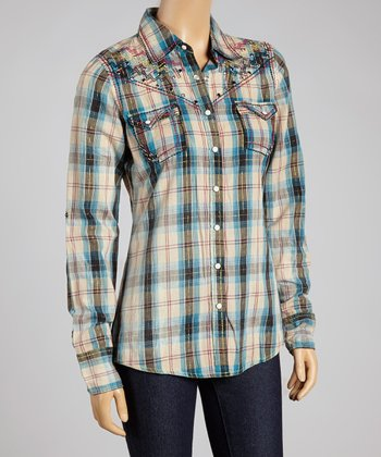 Blue Plaid American Summer Button-Up - Women