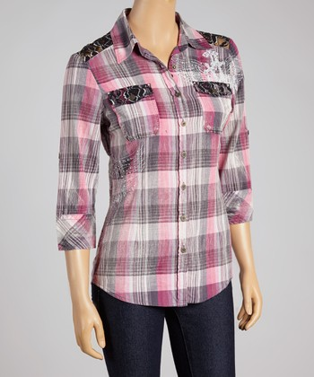Pink Plaid Red Angel Button-Up - Women