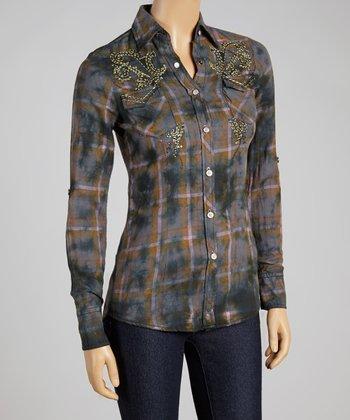 Gray Plaid Aponi Button-Up - Women
