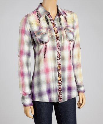 Purple Plaid Native Song Button-Up - Women